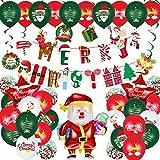 48 Piezas Juego de Globos de Navidad Globos de Confeti Decorativos Navideños Globos de Muñeco de Nieve Papá Noel Globos de Oro Blanco Rojo Verde Pancartas de Merry Christmas