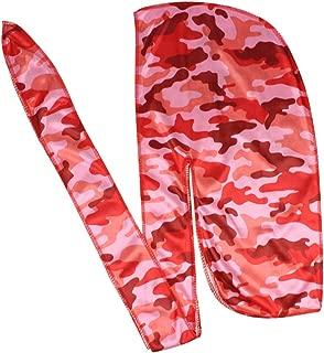 Men Camo Silk Durag Long Straps Silky Durags Bandana Waves cap
