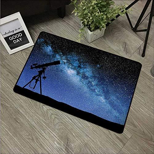 Anzhutwelve Galaxy, tapetes de Puerta Personalizables, telescopio Valle bajo el Cielo Nocturno Estrellado, Forma lechosa, Galaxy astronomía, tapete para Puerta Delantera, Azul Oscuro y Negro