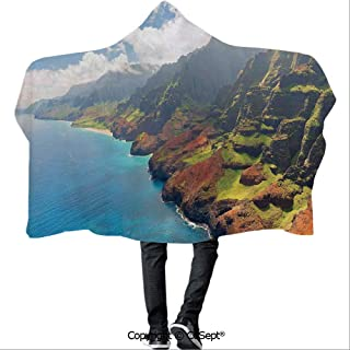 AmaUncle Polyester Hooded Blankets,Na Pali Coast on Kauai Island Clear Water Sunshines Foggy Cloudscape Panorama,for Adults and Children(59.05x43.30 inch),