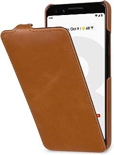 StilGut UltraSlim Google Pixel3 Case. Vertical Flip Case for Google Pixel 3 Made of Genuine Leather, Cognac Brown