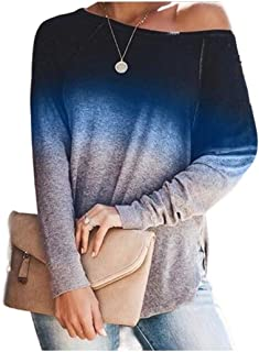 HEFASDM Women Plus-size Gradient Ramp Casual Blouse Cozy Long Sleeve Tees Top