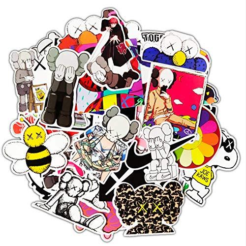 WOCAO Suitcase Stickers Skateboard Travel Suitcase Guitar Waterproof Cartoon Stickers 64Pcs