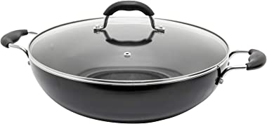 Starfrit T033170 Jumbo 13.5-Inch Wok with Lid, One Size, Black