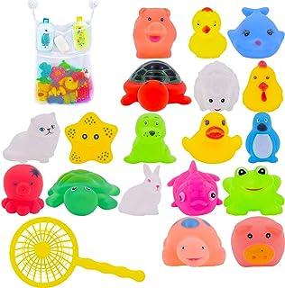 10Pcs Juguete Baño Bebe,Juguetes Animados con Sonidos Toy Diverdidos Lindos para Agua Piscina Baño,Goma Flotante Floating Baby Bath Toys con baño Sucker Mesh Bolsa de Almacenamiento para bebés o niños