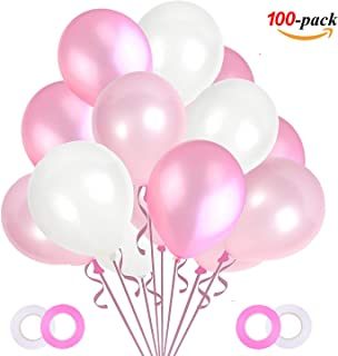 JOJOR Globos Rosas y Blanco,100 Piezas Globos Cumpleaños Rosas Perlados, Globos de Fiesta para Bodas, Niña Cumpleaños Comunion Bautizo Baby Shower Bebe 1 Años Rosas Decoraciones