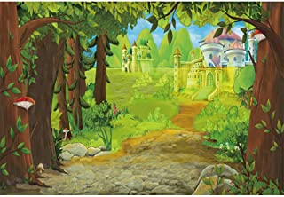 Renaiss 5x3ft Fairyland Fairy Tales Photography Backdrop Fantasy Fairyland Forest Castle Old Tree Green Grass Blue Sky White Clouds Background Children Birthday Party Banner Decor Wallpaper