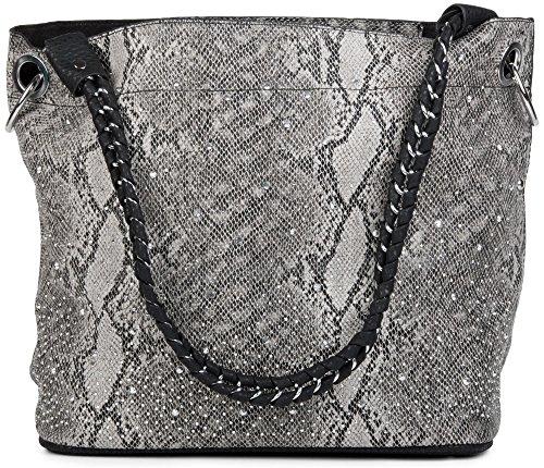 styleBREAKER Handtaschen Set in Schlangenleder Optik mit Strass Applikation im Sternenhimmel Design, 2 Taschen 02012013, Farbe:Schlange Grau/Schwarz