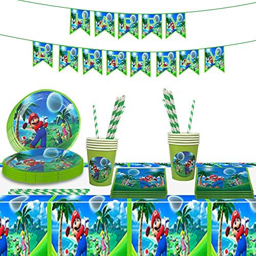 Gxhong Vajilla para Fiesta de Cumpleaños de Super Mario Suministros de Fiesta Temáticos Decoración de Fiesta, Pancarta Plato Taza Pajitas Servilleta Mantel para Fiesta de Cumpleaños Aniversarios,54PCS