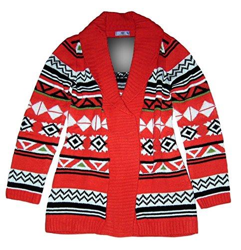 AjC-fashion Longjacke Strickjacke Long Cardigan Gr 36 38 S rot Ikatmuster