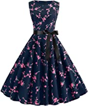 1950s Retro Dresses for Womens Vintage Boatneck Sleeveless Print Evening Party Prom Rockabilly Printing Dress by:iYBUIA