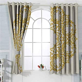 hengshu Victorian Decor Rustic Curtains for Living Room Traditional Gold Floral Round Circle with Baroque Elements Turkish Ottoman Style Art Living Room Decor Blackout Shades W107 x L96 Inch Cream