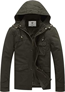 WenVen Men`s Military Jacket Lightweight Cotton Casual Coat Hooded Windbreaker