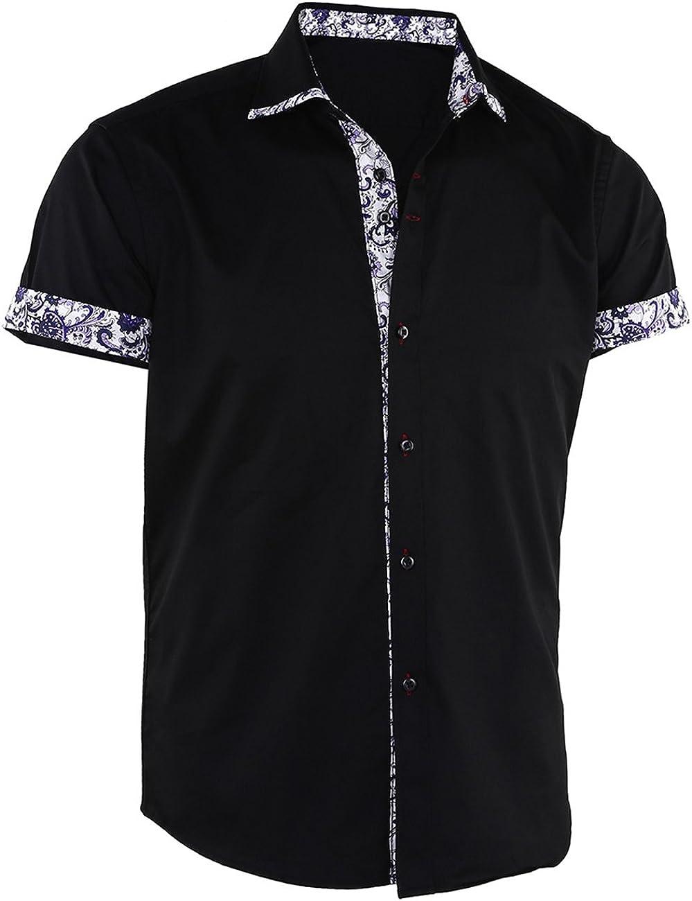 Dioufond Mens Dress Shirts Short Sleeve Button Down Shirts for Men