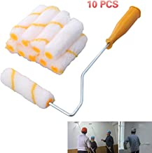 Fuleadture 10Pcs Foam Brush Parts Wall Paint DIY Set Tool Roller Brush Handle for Painting All Types of Surfaces