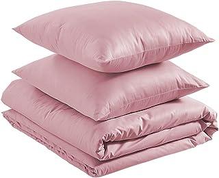 Amazon Basics Parure de lit légère en coton 240 x 220 cm / 65 x 65 cm, Rose poudré