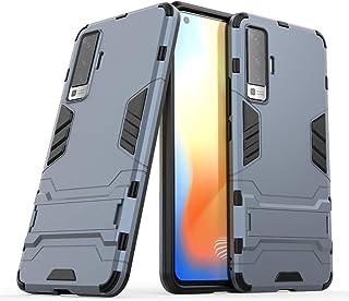 nh ケース 対応VIVO X7 ケーススリムで薄い水平キックスタンド [スクリーンプロテクターき2個付] ドロッププロテクションファッション電話ケースバンパーカバーVIVO X7用(青い)