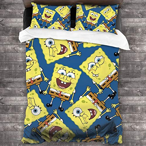 HESLOM MOO Duvet Cover Queen Spongebob Squarepants Patrick Star Soft Quilt Set - 3 Piece Bedding Duvet Cover Set with Two Standard Pillow Shams
