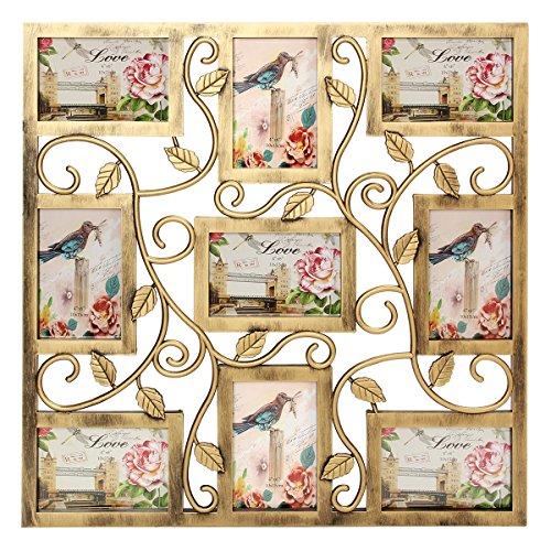 MASUNN Bronzen Bloemen muur opknoping Collage fotolijsten Picture Display Decor Gift 6X4Inch