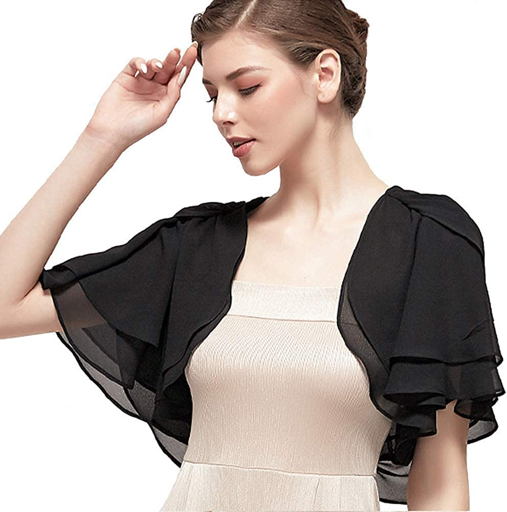 Kate Kasin Women's Soft Chiffon Shawl Wraps Loose Casual Sheer Shrug Open Front Cape Cover Up for Wedding Evening Dress