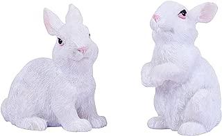 Wonderland Washable Polyresin Set of 2 White Bunny for Bonsai Decoration, Terrariums, Doll House