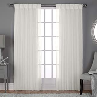 Exclusive Home Curtains Belgian Textured Linen Look Jacquard Sheer Pinch Pleat Curtain Panel Pair, 84
