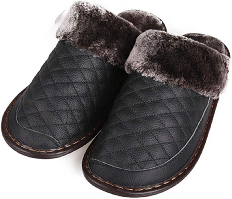 Home Slippers Winter Women Men Slippers Warm Indoor shoes Pu Non-Slip Ladies Slippers,1,4142