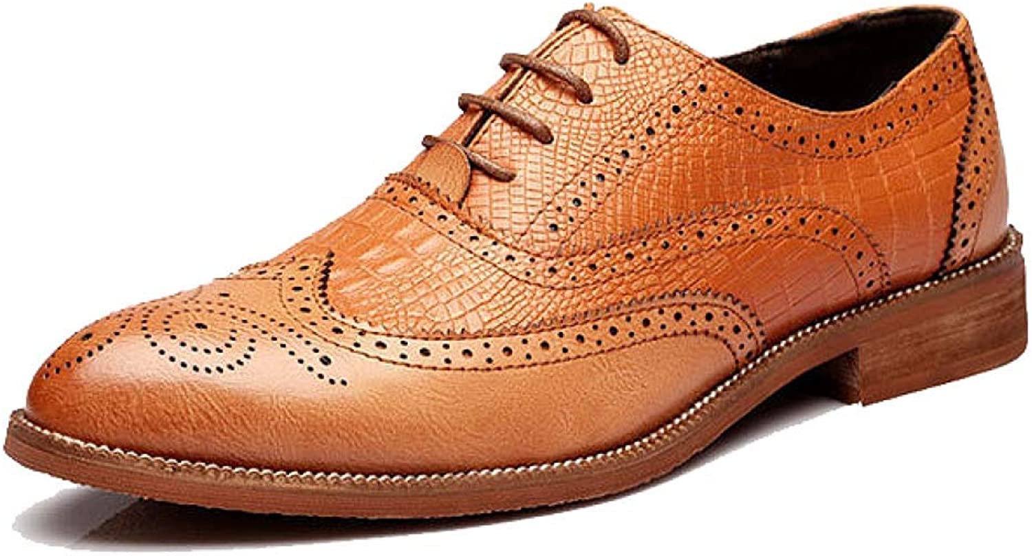 NIUMT Men's Leather shoes, Broch, Carved, Casual, Lace, Retro Autumn, Winter