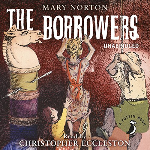 The Borrowers cover art. Pod and Homily Clock with Arietty.A chess piece sits atop a cotton reel to their right, which they are the same size as.