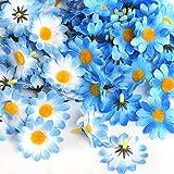 Naler 120 Margaritas Artificiales Pequeñas Cabezales de Flores Artificiales Decoración Boda, Fiesta, DIY Manualidades, Color Azul Mezclado