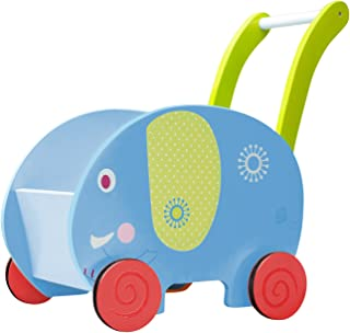 Labebe 子供ウォーカー プッシュ&プル手押し車おもちゃ ワゴントイ カタカタ 歩行器 - ブルー象