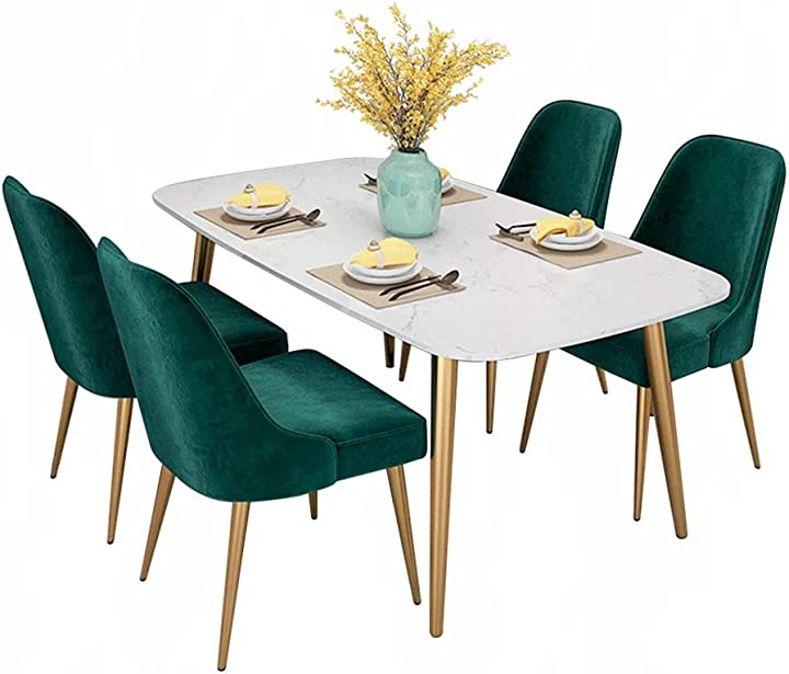 Tavolo di lusso da pranzo in marmo luce europea combinazione moderna minimalista rettangolare B07WDH3MCV