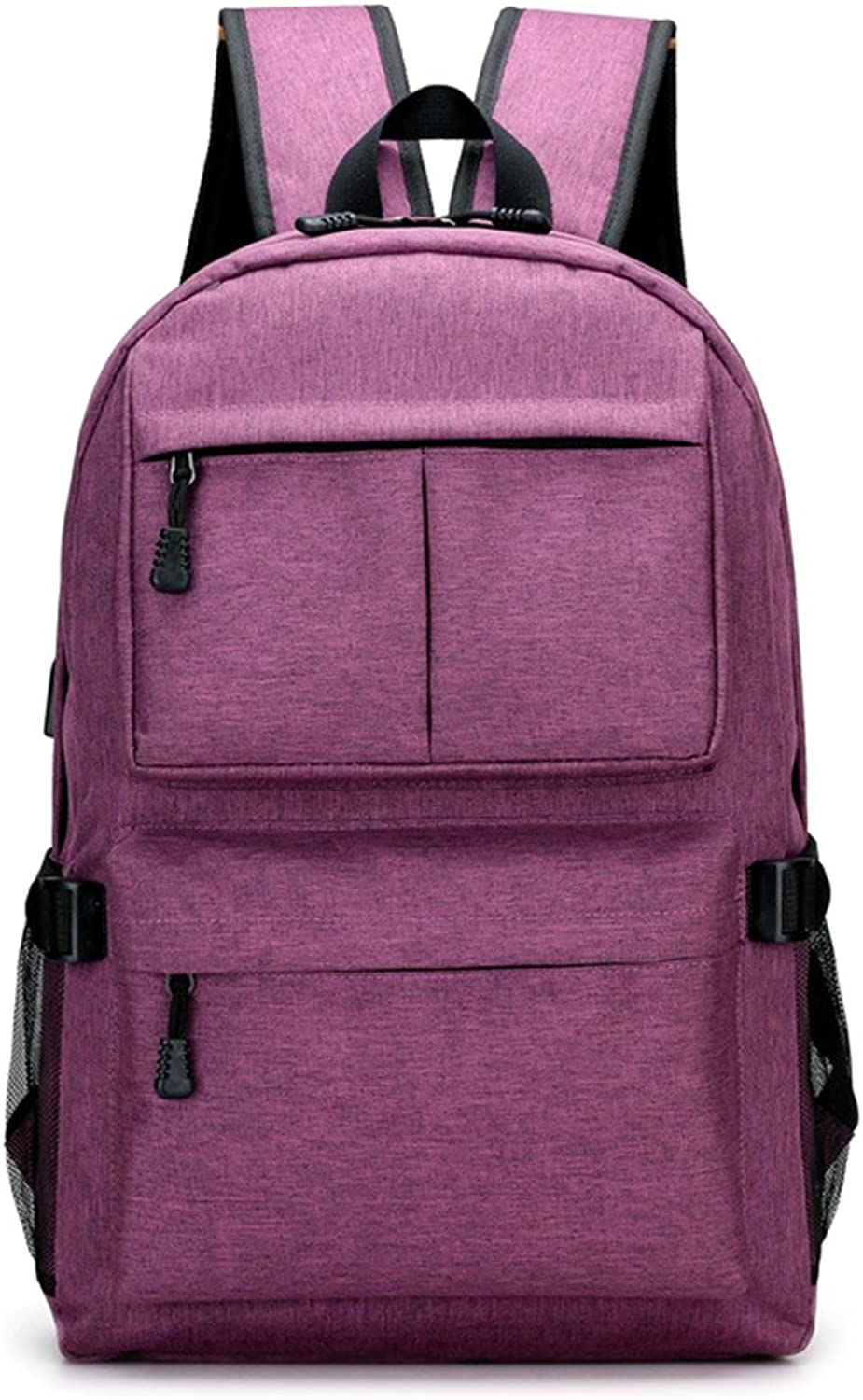 Lamdoo Men Oxford Laptop Backpack with USB Charge Port Travel School Bags Anti-Theft Purple