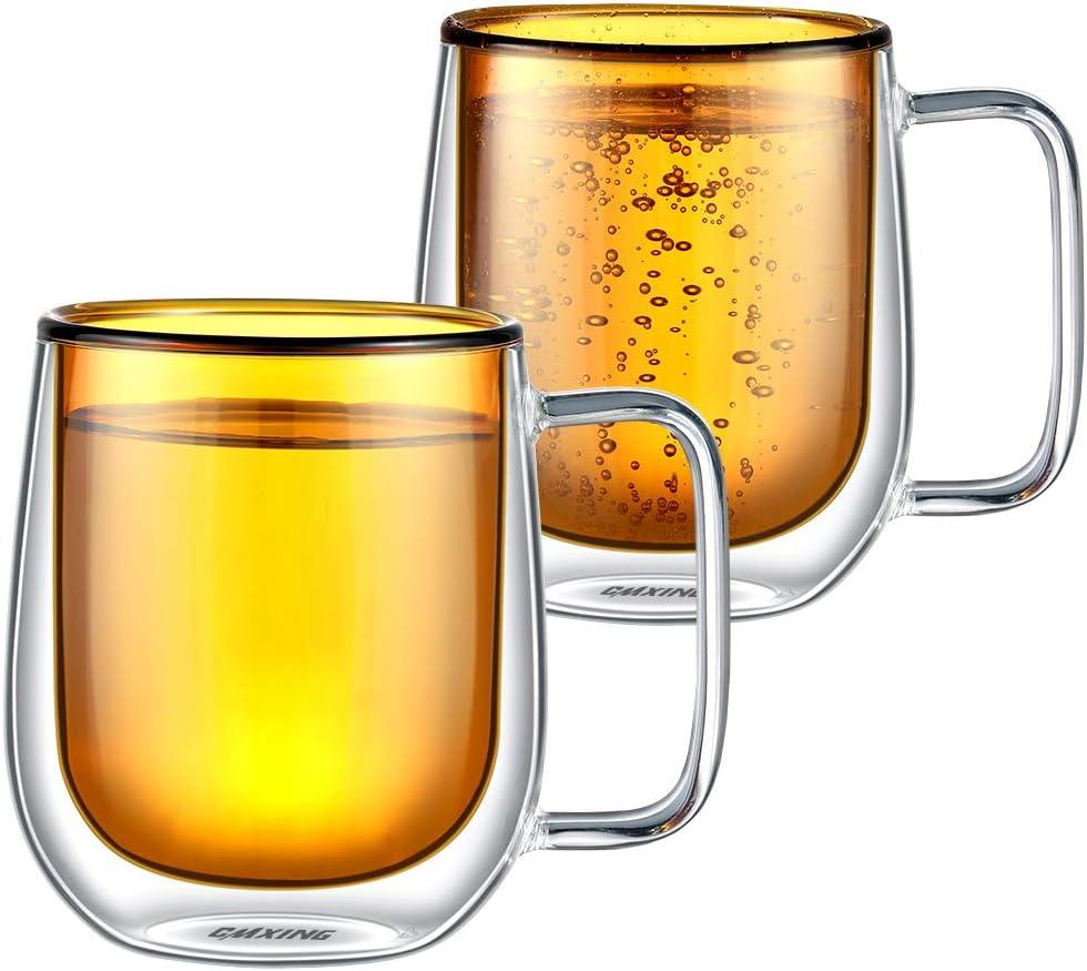 CMXING Tazas de café de Pared Doble Copas Tazas de café Termo Transparentes aisladas para Espresso Cappuccino Latte (Amarillo-300mL)