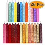 Anezus 26Pcs Antique Sealing Wax Sticks with Wicks for Postage Letter Retro Vintage Wax Seal Stamp,...