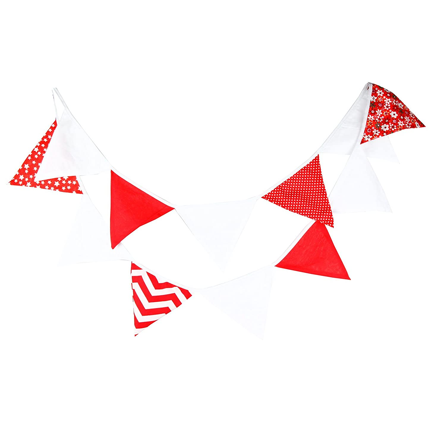 INFEI 3.2M/ 10.5Ft Multicolored White Fabric Triangle Flag Buntings Garlands for Wedding, Birthday Party, Outdoor & Home Decoration (Red)