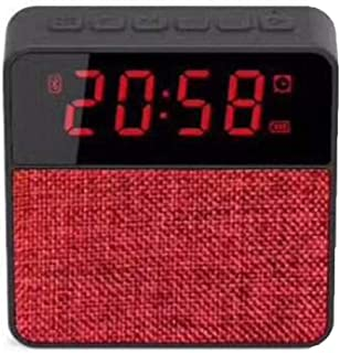 Cloth Clock Bluetooth Speaker Card Bluetooth Speaker Phone Audio Wireless Subwoofer Clock Display,Red