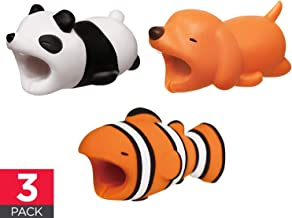 Cable Buddies Bites Animals Protector Compatible with iPhone Cords - Say NO to Broken Cables - Panda Dog Clownfish - 3 Pack