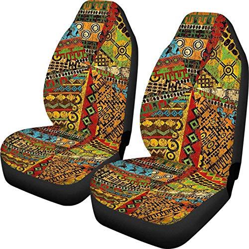 Big Incisor Bikini Inca Tocapu Pattern African Car Decor Fundas de Asiento Asiento Delantero Imprimir 2pcs Funda de Asiento de Cubo Lavable