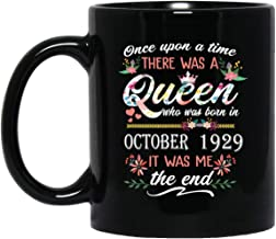 Queen who was born in October 1929 Mug Beautiful 90th Birthday Gift 90 Years Old mug for Women Lady Girls, 11oz Black Tea Cup