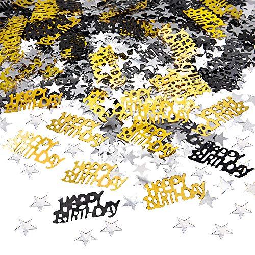 APERIL Happy Birthday Geburtstag Konfetti Silber Stern Konfetti Pailletten, 30g Tischkonfetti, Geburtstag Konfetti für Jungen Mädchen Geburtstagsfeier Dekoration-Schwarzgold
