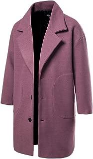 Howely Mens Winter Windbreaker Mid-Length Notched Collar Pocket Pea Coat