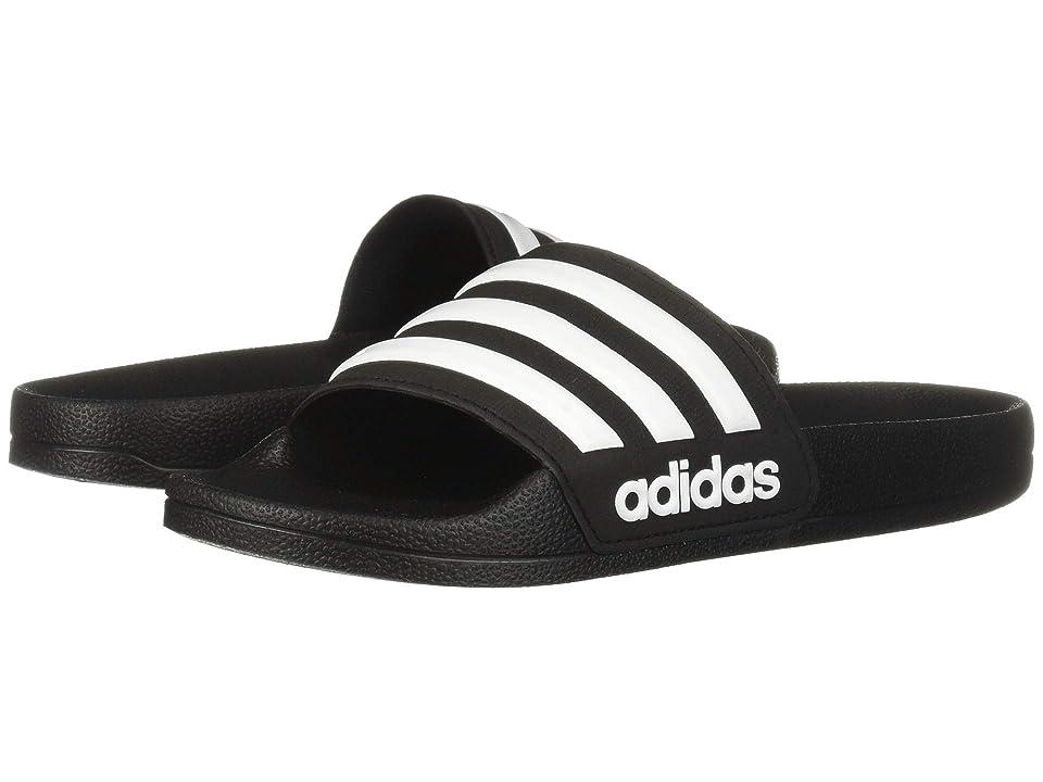 adidas Kids Adilette Shower Slide (Toddler/Little Kid/Big Kid) (Black/White/Black) Kids Shoes