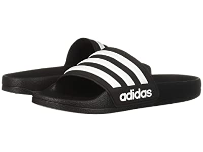 adidas Kids Adilette Shower Slide (Toddler/Little Kid/Big Kid) (Black/White/Black) Kids Shoes
