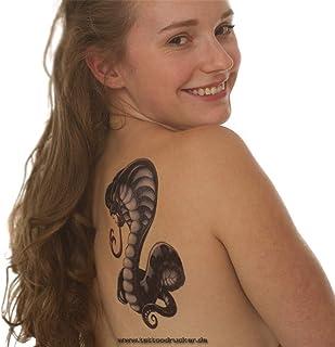 2 x Buntes Cobra XL Tattoo - Schlange im Comiclook - Body Te