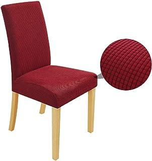 Speedsporting Fundas para sillas elásticas, desmontables, lavables, para sillas de comedor, juego elástico, protector moderno con goma (burdeos, 4 unidades)