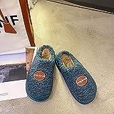 Kirin-1 Pantuflas Hombre Invierno casa,Cientos de Zapatillas de algodón de película Gruesa Mujeres Calientes Gruesos Interiores antideslizantes-35/36_Azul