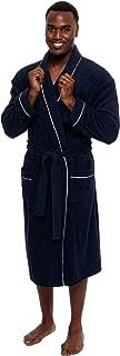 Men's Lightweight Cotton Terry Robe - Luxury Bathrobe w/Contrast Piping