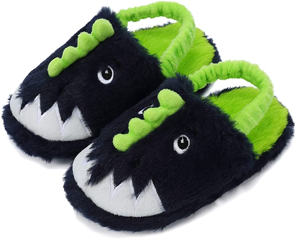 SEANNEL Boys and Girls House Slippers Kids Animal Indoor Slipper Fuzzy Toddler Home Shoes
