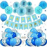 MMTX Suministros de Decoraciones para Fiestas de Cumpleaños, Paquete de 56 Favores de con Pancartas de Feliz Cumpleaños, Abanicos de Papel, Helio Estrella para Cumpleaños, Bodas, Bienvenida Al Bebé